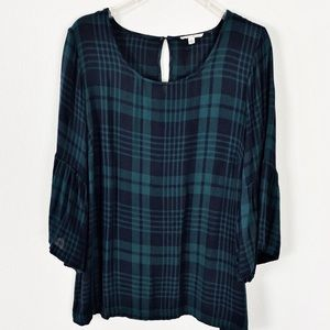 Jane And Delancey Plaid Top Green Size 1X